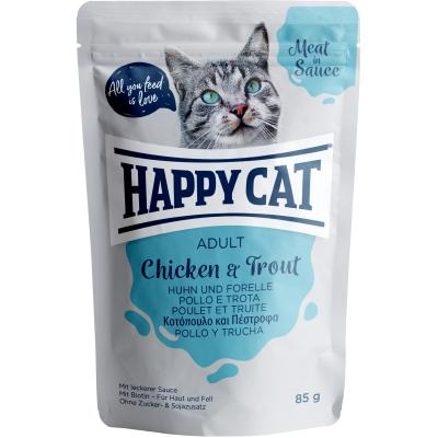 Happy Cat Meat in Sauce Adult Huhn & Forelle Pouch | Auslaufartikel! 85g