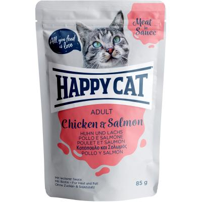 Happy Cat Meat in Sauce Adult Huhn & Lachs Pouch | Auslaufartikel! 85g
