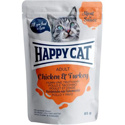 Happy Cat Meat in Sauce Adult Huhn & Truthahn Pouch | Auslaufartikel! 85g