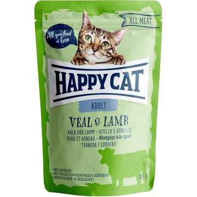 Happy Cat All Meat Adult Kalb & Lamm Pouch | Auslaufartikel! 85g