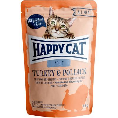 Happy Cat All Meat Adult Truthahn & Seelachs Pouch | Auslaufartikel! 85g