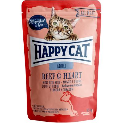 Happy Cat All Meat Adult Rind & Herz Pouch | Auslaufartikel! 85g