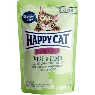 Happy Cat All Meat Adult Sterilised Kalb & Lamm Pouch | Auslaufartikel! 85g