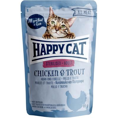 Happy Cat All Meat Adult Sterilised Huhn & Forelle Pouch | Auslaufartikel! 85g