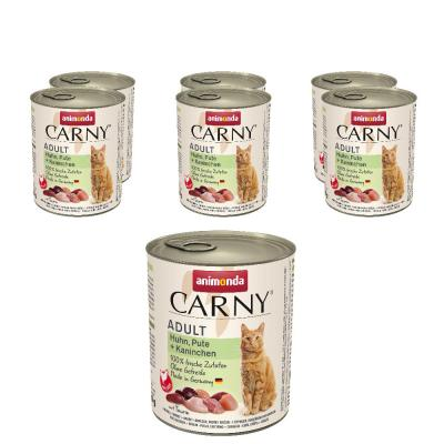Sparpack! animonda Carny Adult Huhn, Pute + Kaninchen 6 x 800g