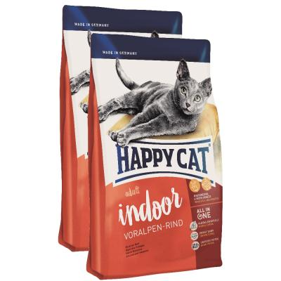 Sparpack! Happy Cat Indoor Adult Voralpen Rind | 2 x 10kg