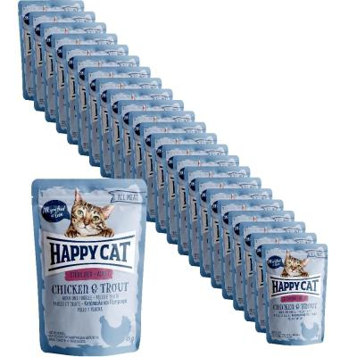 Sparpack! Happy Cat All Meat Adult Sterilised Huhn & Forelle Pouch | 24 x 85g
