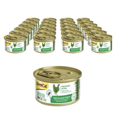 Sparpack! GimCat Superfood ShinyCat Duo Hühnchenfilet mit Gras | 24 x 70g