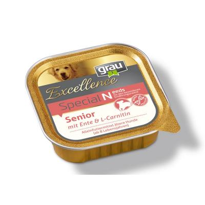 grau Excellence Special Needs Senior mit Ente & L-Carnitin 100g
