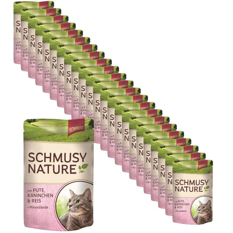 Sparpack! Schmusy Nature Pouch Pute, Kaninchen & Reis | 24 x 100g