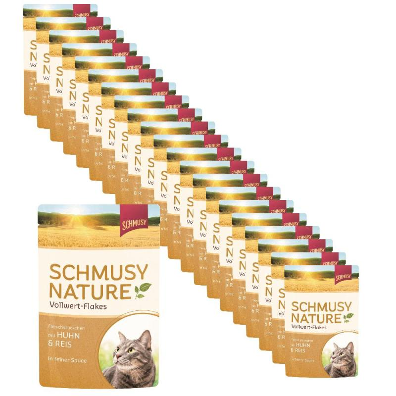 Sparpack! Schmusy Nature Vollwert-Flakes Huhn & Reis in Sauce | 22 x 100g