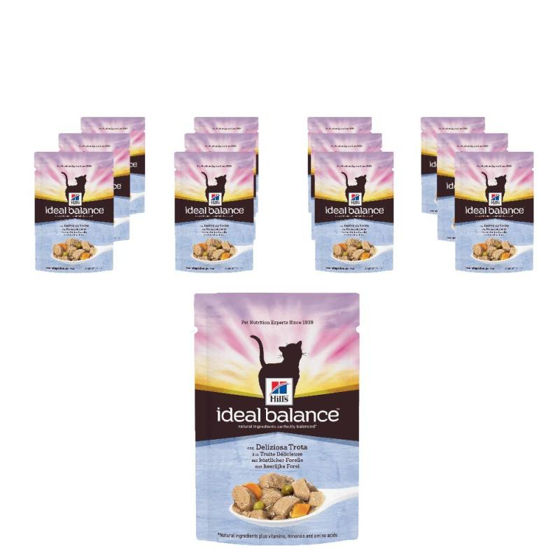 Sparpack! Hill's Ideal Balance Feline Adult Forelle & Gemüse im | 12x85g Pouches