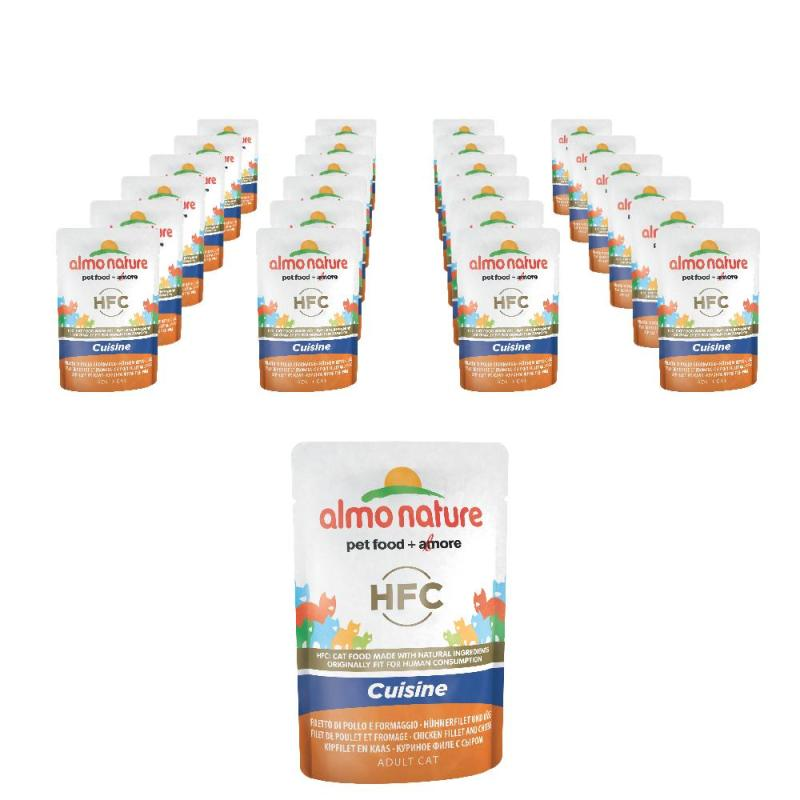 Sparpack! Almo Nature HFC Cuisine Hühnerfilet und Käse | 24 x 55g