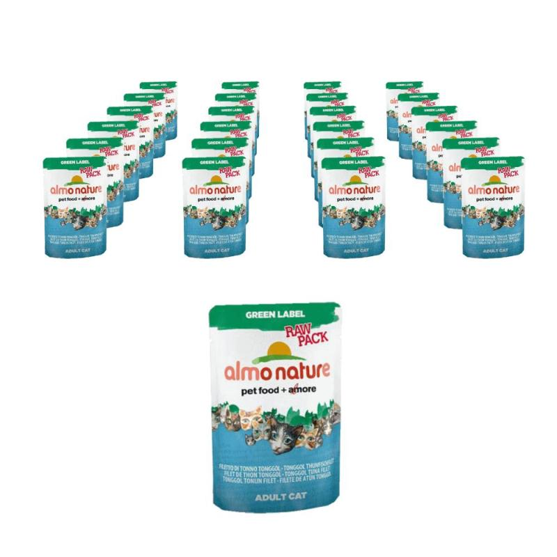Sparpack! Almo Nature Green Label Raw Pack Tonggol Thunfischfilet | 24 x 55g