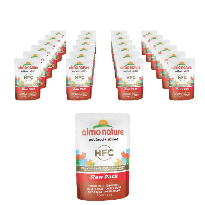 Sparpack! Almo Nature HFC Raw Pack Hühnerbrust | 24 x 55g