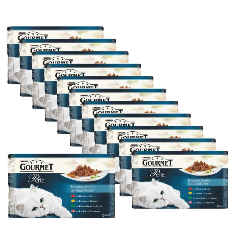 Sparpack! GOURMET Perle | Multipack Rind+Kaninchen+Lachs+Huhn 85g 44+4 gratis!