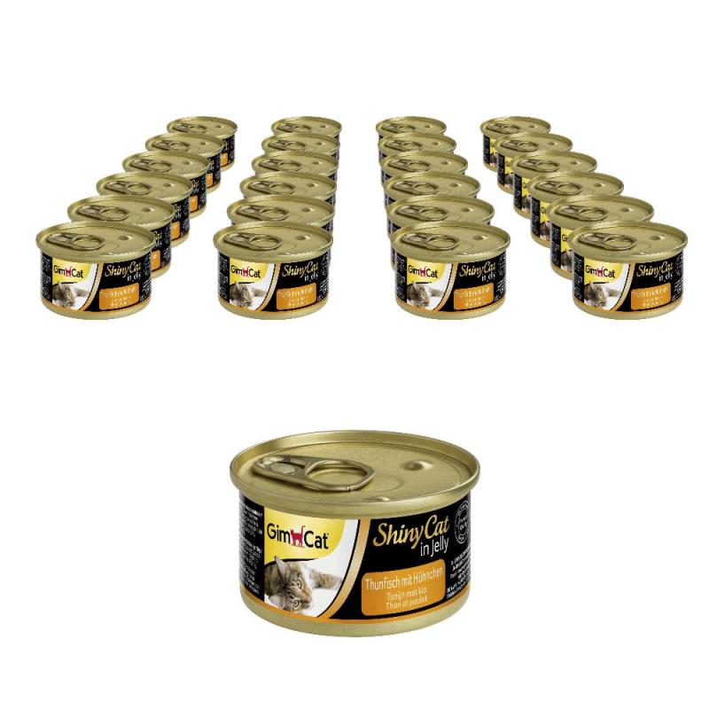 Sparpack! GimCat ShinyCat Thunfisch mit Hühnchen in Jelly | 24 x 70g