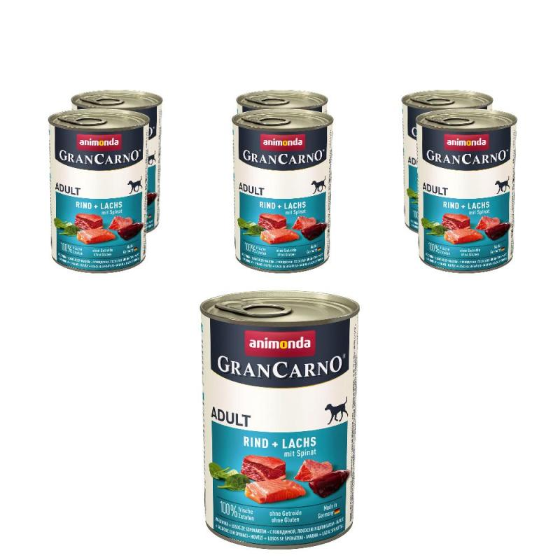 Sparpack! Animonda GranCarno Adult Rind + Seelachs mit Spinat | 6 x 400g