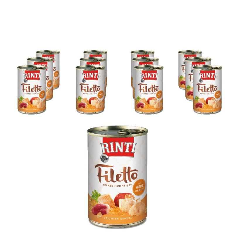 Sparpack! Rinti Filetto in Jelly Huhn & Hühnerherz | 12x420g