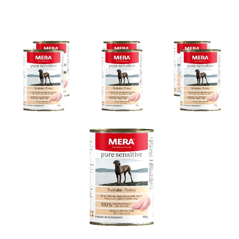 Sparpack! Meradog pure sensitive MEAT | Truthahn 6x400g