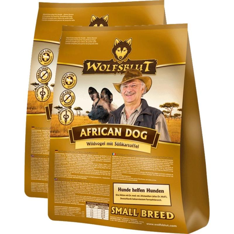 Sparpack! Wolfsblut African Dog Small Breed Wildvogel+Süßkartoffel | 2x15kg